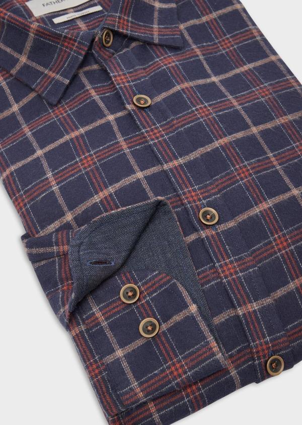 Chemise sport Regular en popeline de coton bleu nuit à motifs géométriques - Father and Sons 36594