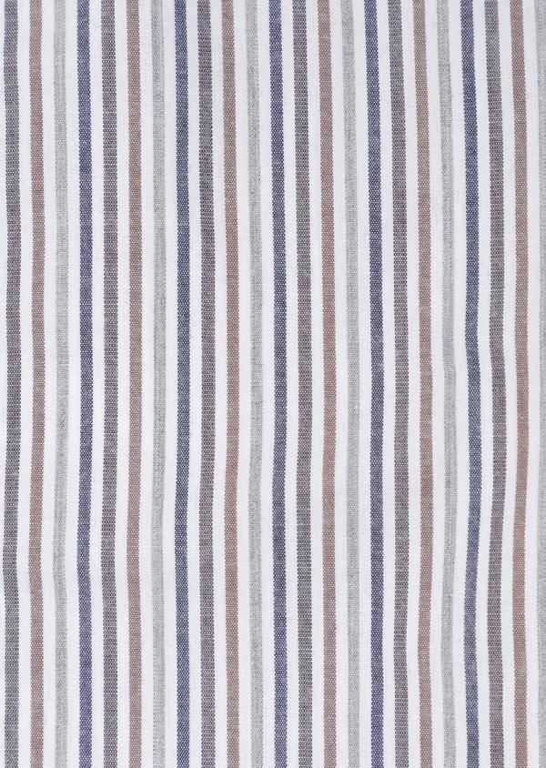 Chemise sport Regular en popeline de coton blanc à rayures - Father and Sons 35645