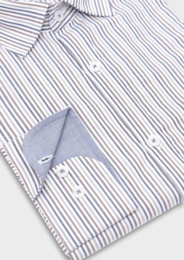 Chemise sport Regular en popeline de coton blanc à rayures - Father and Sons 35647