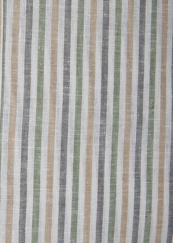 Chemise sport Regular en coton et lin Jacquard blanc à rayures kaki, beige et chambray - Father and Sons 38428