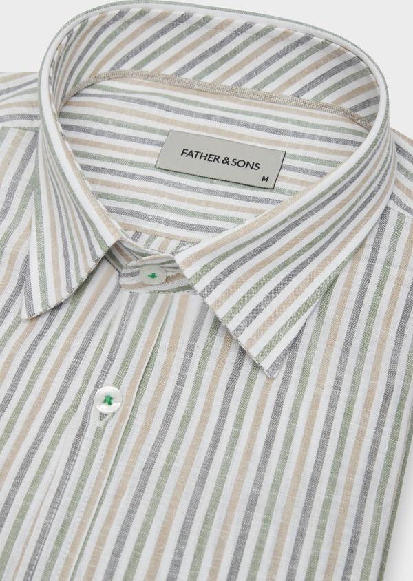 Chemise sport Regular en coton et lin Jacquard blanc à rayures kaki, beige et chambray - Father and Sons 38429