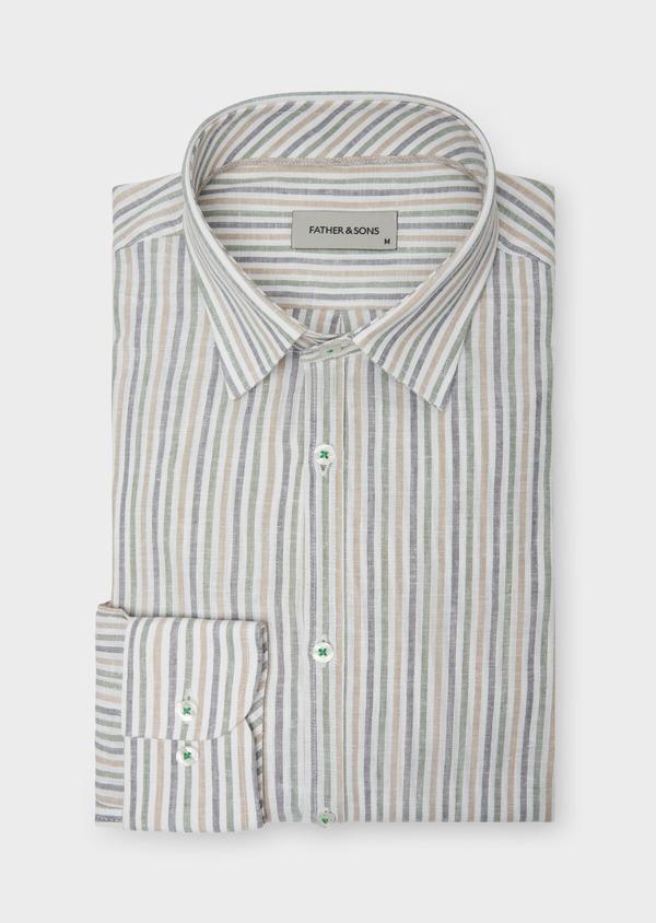 Chemise sport Regular en coton et lin Jacquard blanc à rayures kaki, beige et chambray - Father and Sons 38427