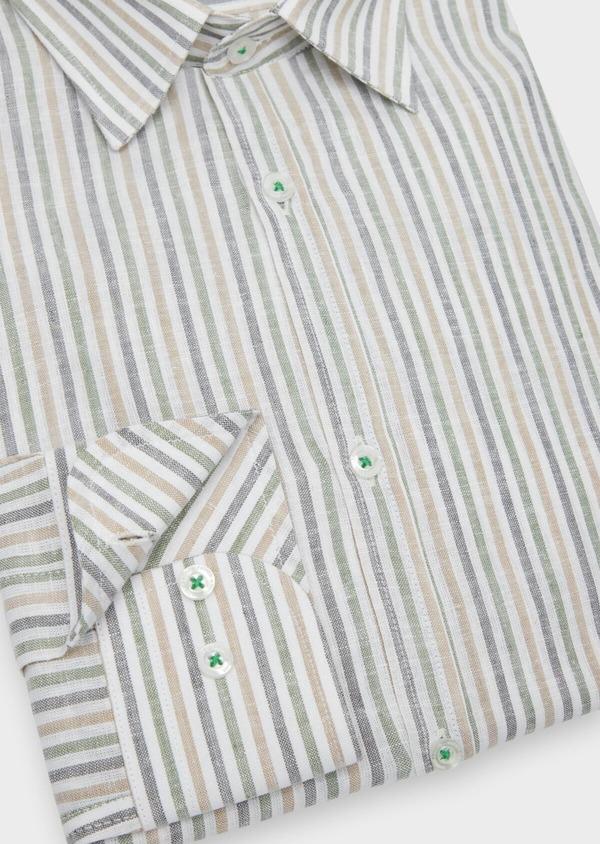 Chemise sport Regular en coton et lin Jacquard blanc à rayures kaki, beige et chambray - Father and Sons 38430
