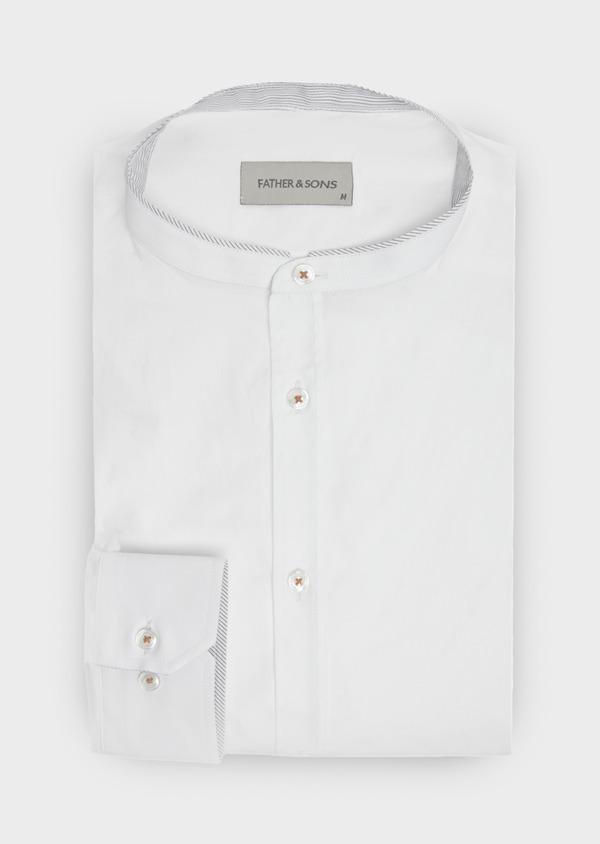 Chemise sport Regular en satin de coton uni blanc à col officier - Father and Sons 40169