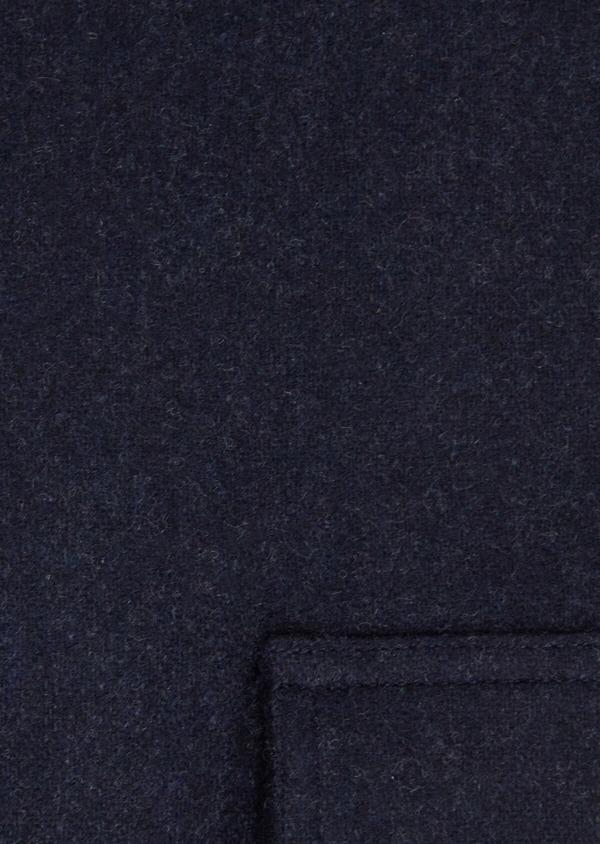 Chemise sport Regular en flanelle de laine mélangée unie bleu marine - Father and Sons 36303