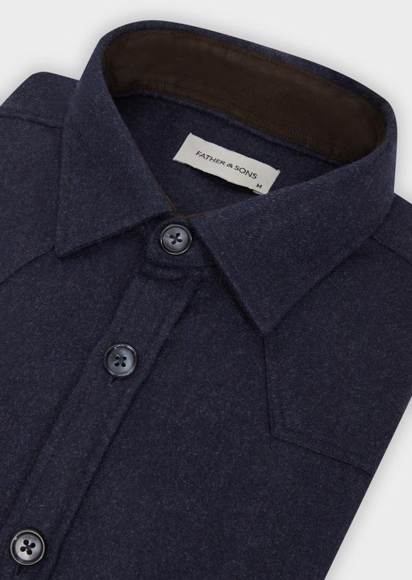 Chemise sport Regular en flanelle de laine mélangée unie bleu marine - Father and Sons 36304