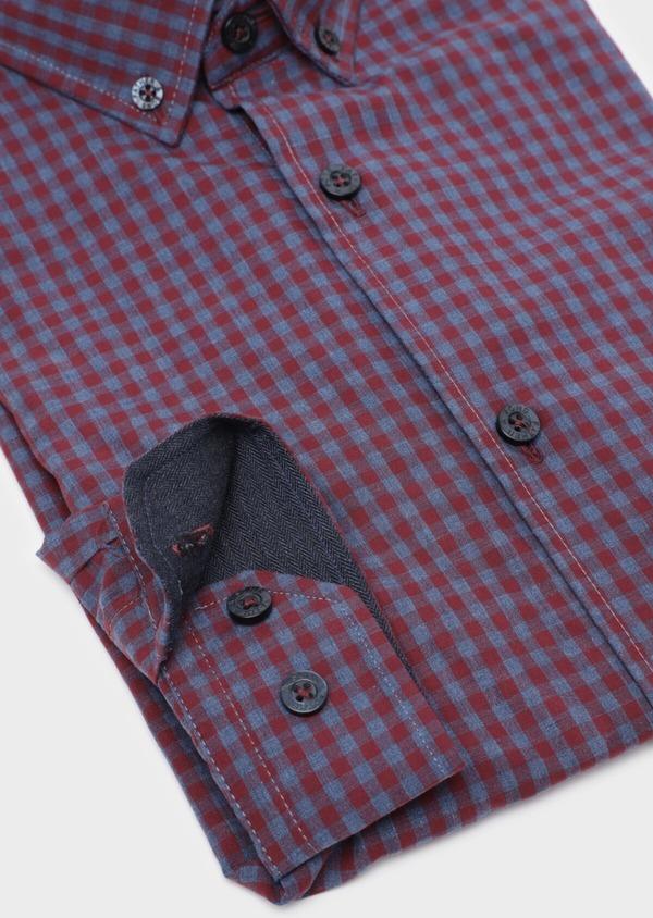 Chemise sport Slim en popeline de coton bleu indigo à carreaux - Father and Sons 35750