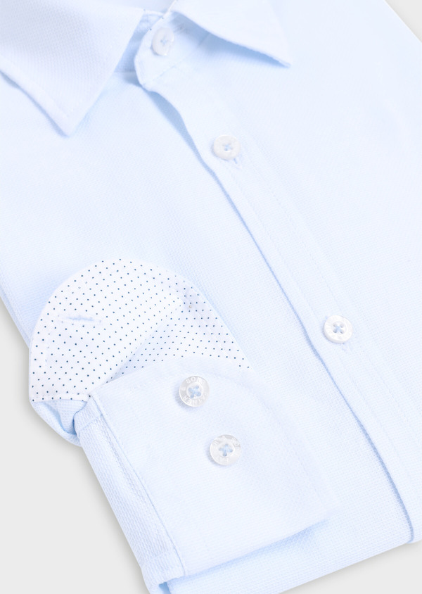Chemise sport Slim en coton jacquard uni bleu ciel - Father and Sons 34401