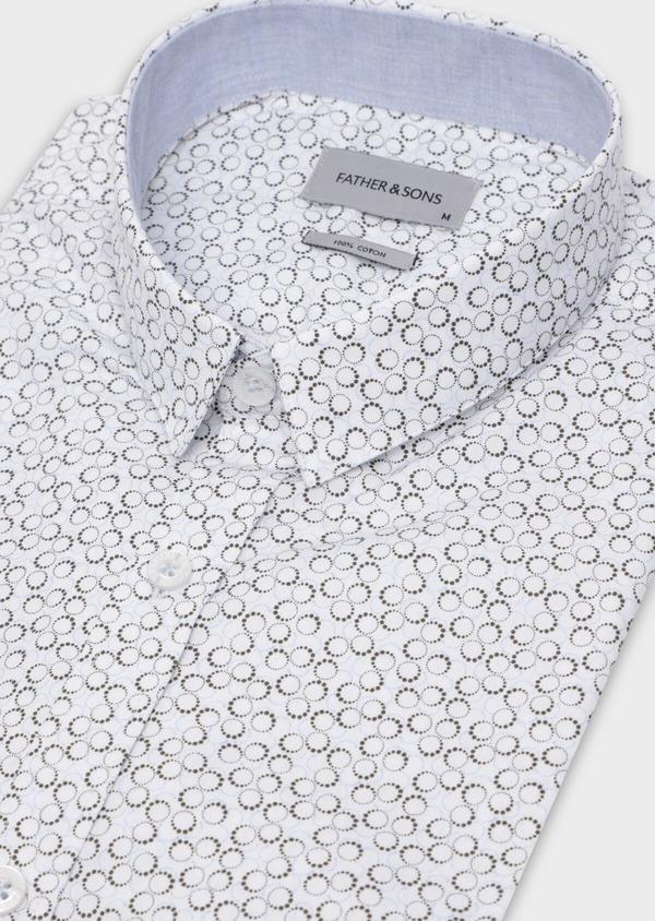 Chemise sport Slim en popeline de coton blanc à motif fantaisie - Father and Sons 35626