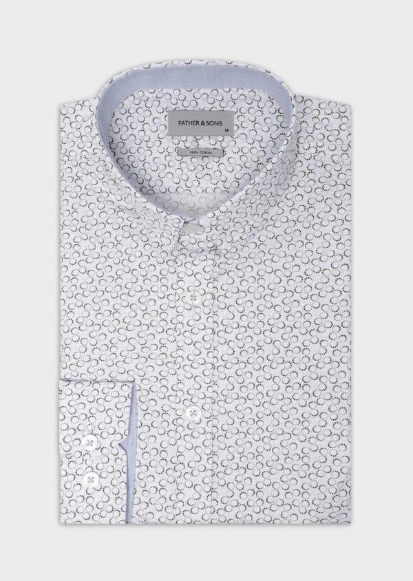 Chemise sport Slim en popeline de coton blanc à motif fantaisie - Father and Sons 35624