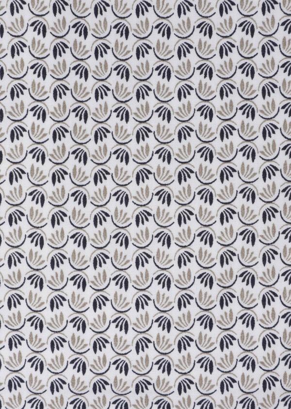 Chemise sport Slim en popeline de coton blanc à motif fantaisie - Father and Sons 35641