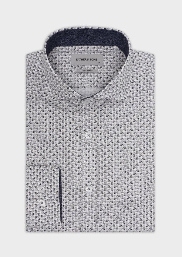 Chemise sport Slim en popeline de coton blanc à motif fantaisie - Father and Sons 35640
