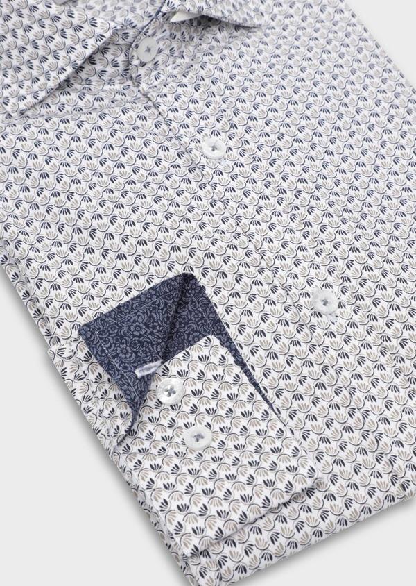 Chemise sport Slim en popeline de coton blanc à motif fantaisie - Father and Sons 35643