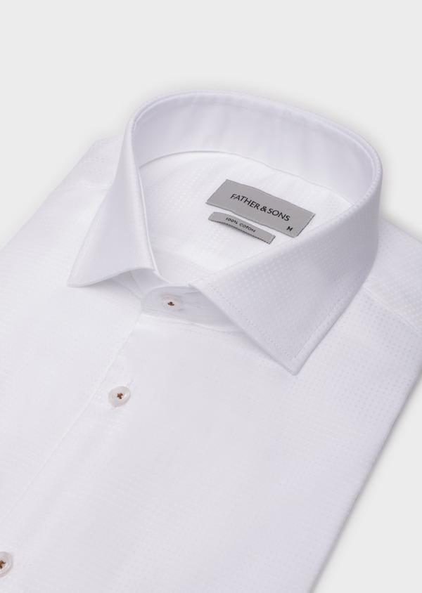 Chemise sport Slim en coton façonné blanc à motif fantaisie - Father and Sons 35798