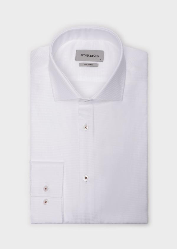 Chemise sport Slim en coton façonné blanc à motif fantaisie - Father and Sons 35796