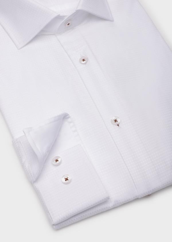 Chemise sport Slim en coton façonné blanc à motif fantaisie - Father and Sons 35799