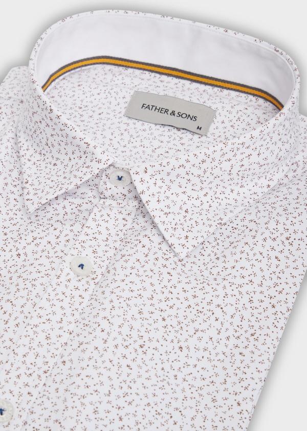 Chemise sport Slim en coton mélangé façonné blanc à motif fantaisie - Father and Sons 36497