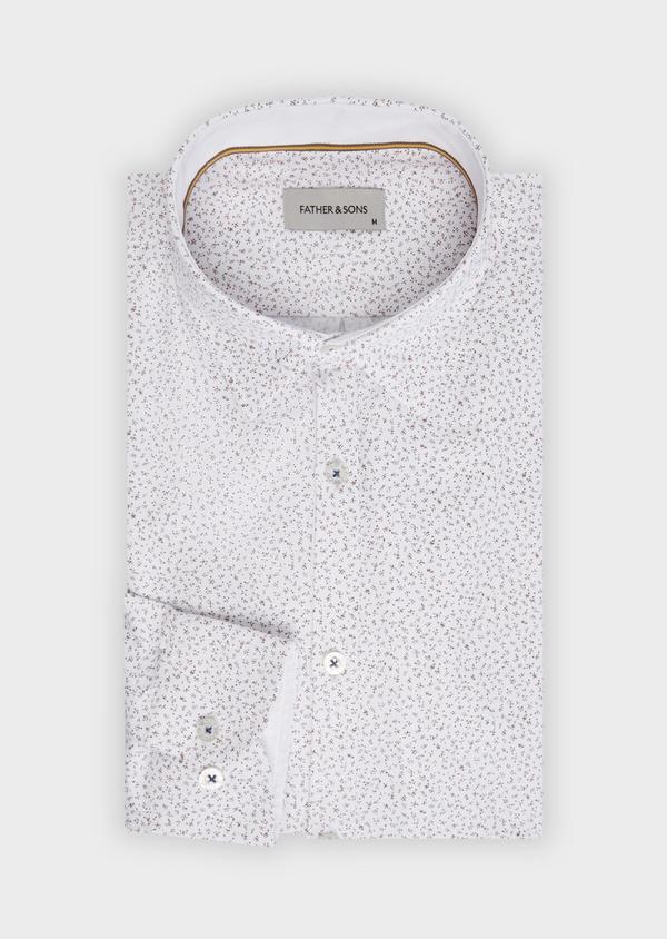 Chemise sport Slim en coton mélangé façonné blanc à motif fantaisie - Father and Sons 36495