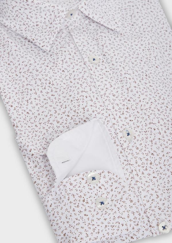 Chemise sport Slim en coton mélangé façonné blanc à motif fantaisie - Father and Sons 36498