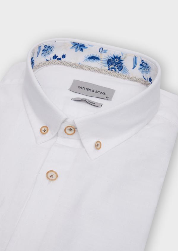 Chemise sport Regular en coton façonné blanc à motif fantaisie - Father and Sons 39374