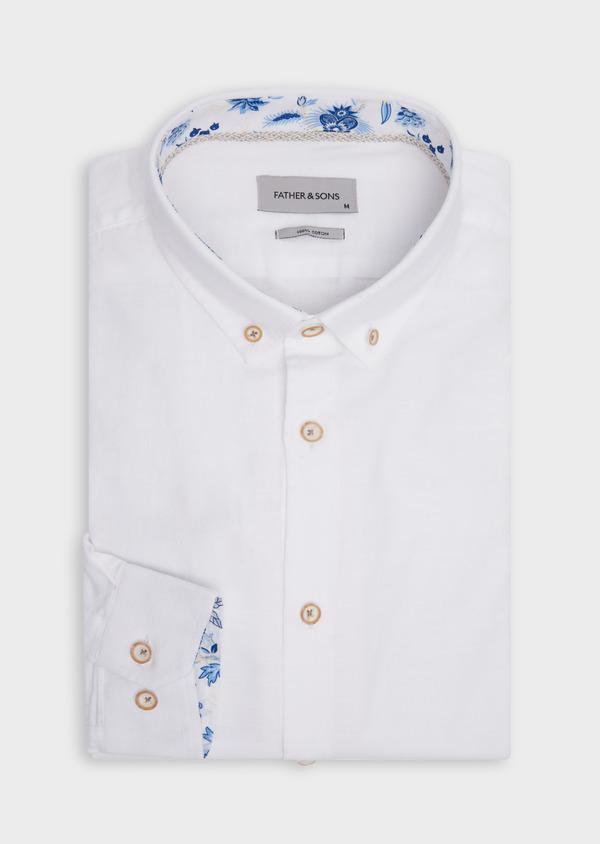 Chemise sport Regular en coton façonné blanc à motif fantaisie - Father and Sons 39373