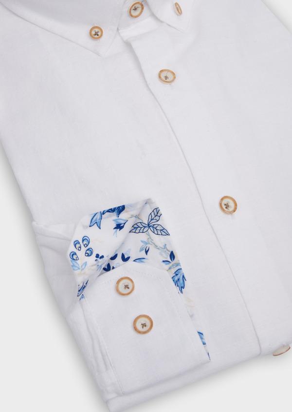 Chemise sport Regular en coton façonné blanc à motif fantaisie - Father and Sons 39376