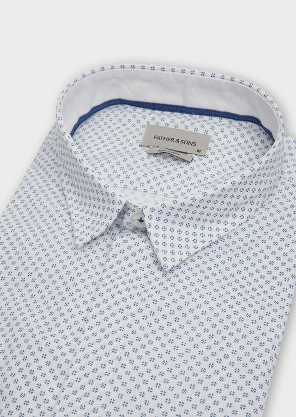 Chemise sport Slim en popeline de coton blanc à motif fantaisie - Father and Sons 39188