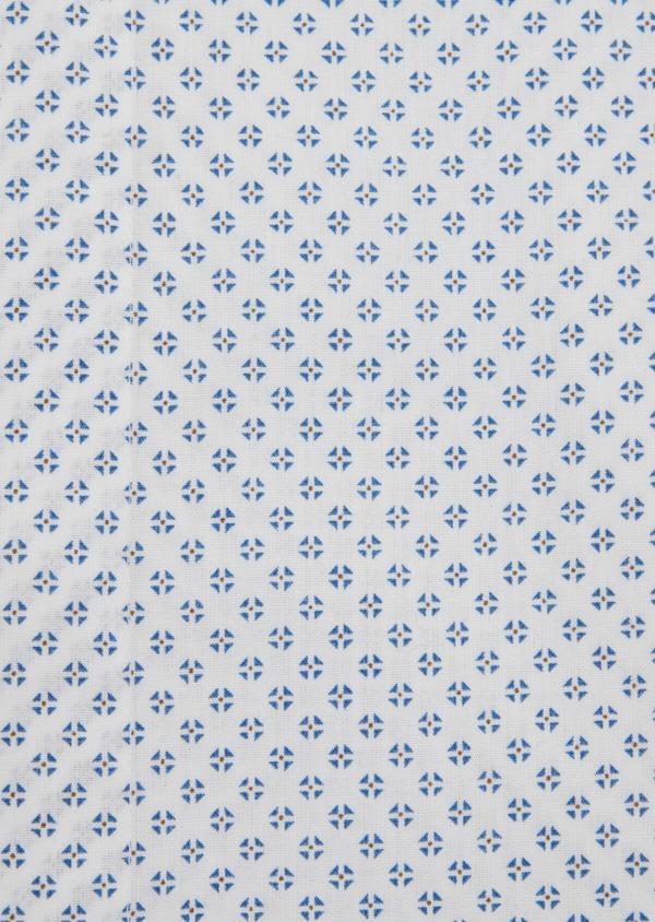 Chemise sport Slim en popeline de coton blanc à motif fantaisie - Father and Sons 39189