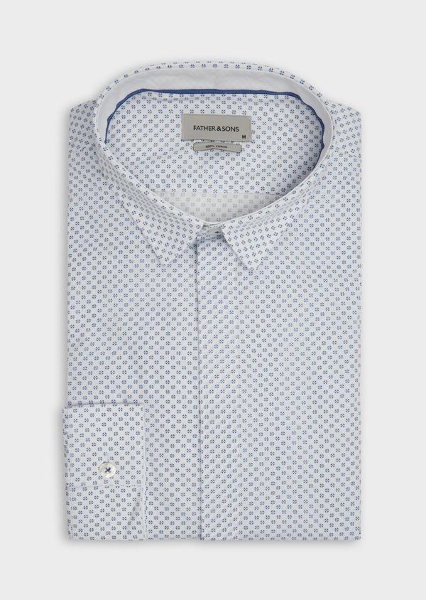 Chemise sport Slim en popeline de coton blanc à motif fantaisie - Father and Sons 39187