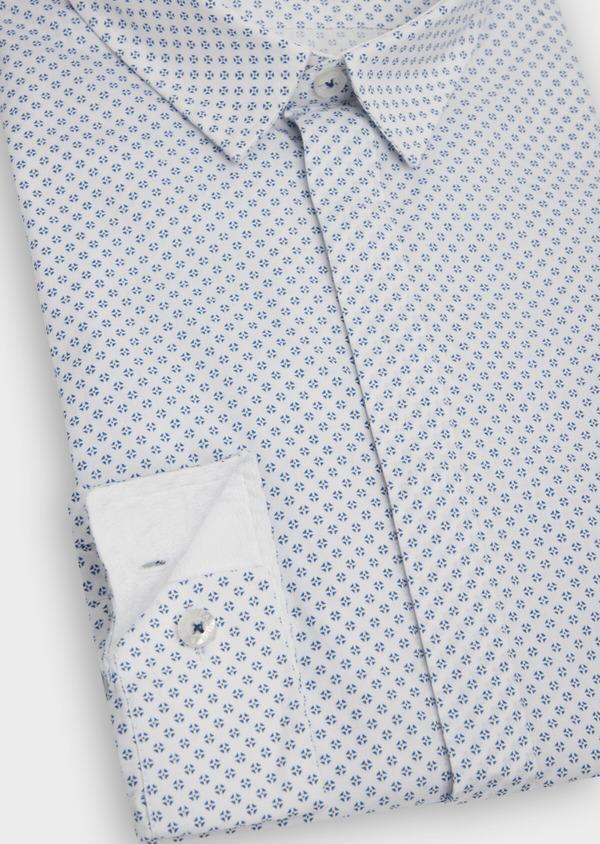 Chemise sport Slim en popeline de coton blanc à motif fantaisie - Father and Sons 39190