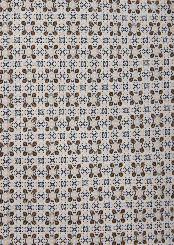 Chemise sport Slim en popeline de coton beige à motif fantaisie marron - Father and Sons 38621