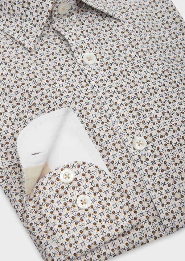 Chemise sport Slim en popeline de coton beige à motif fantaisie marron - Father and Sons 38623