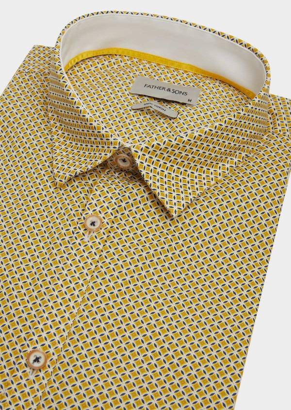 Chemise sport Slim en popeline de coton blanc à motif fantaisie - Father and Sons 39197