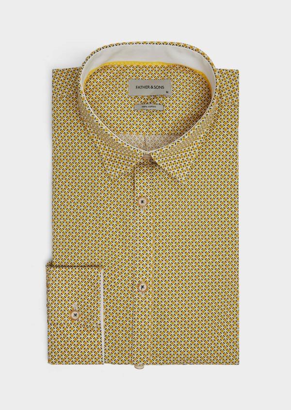 Chemise sport Slim en popeline de coton blanc à motif fantaisie - Father and Sons 39195