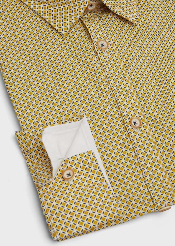 Chemise sport Slim en popeline de coton blanc à motif fantaisie - Father and Sons 39198