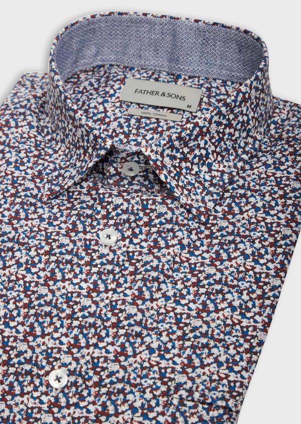 Chemise sport Slim en popeline de coton à motif fantaisie bleu, blanc et rouge - Father and Sons 38598