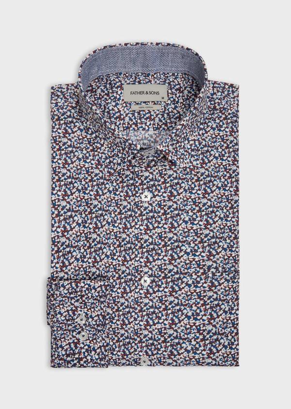 Chemise sport Slim en popeline de coton à motif fantaisie bleu, blanc et rouge - Father and Sons 38596
