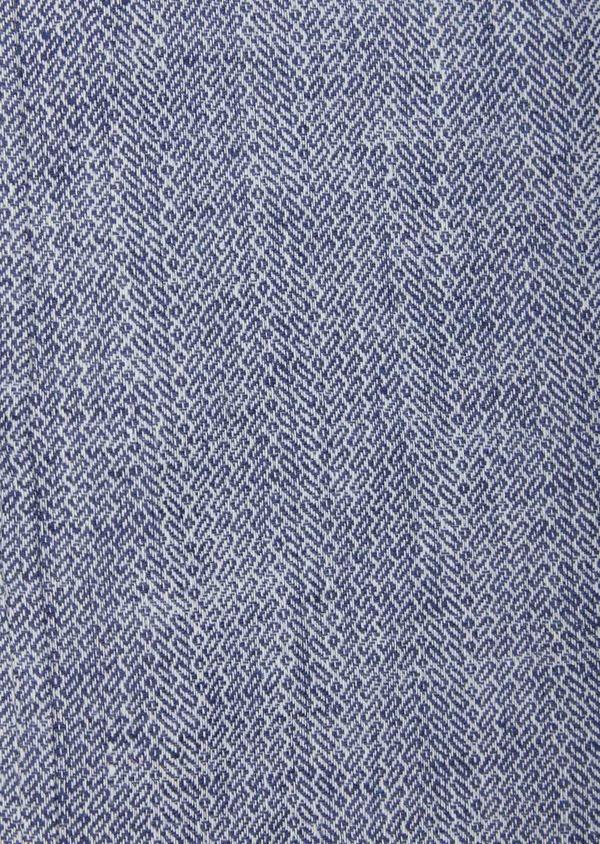 Chemise sport Slim en coton et lin jacquard bleu indigo - Father and Sons 38601