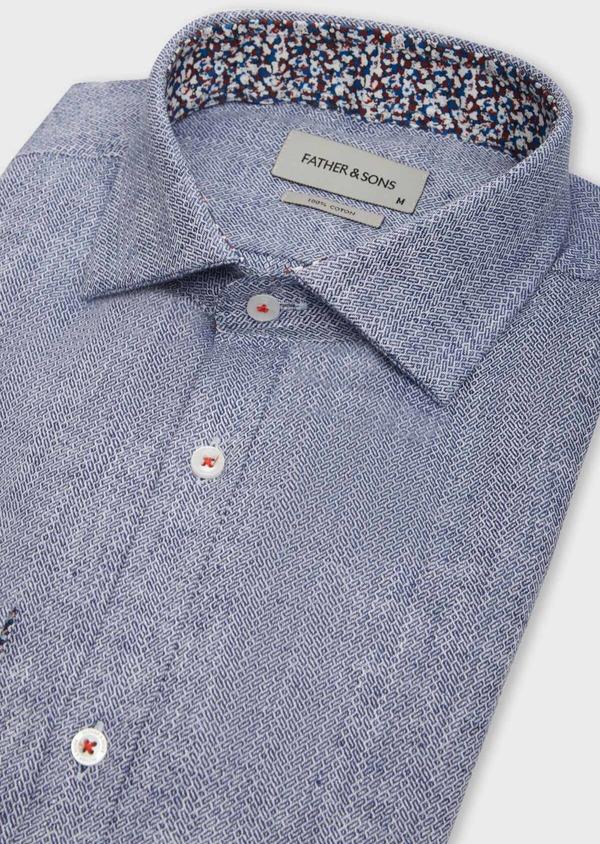 Chemise sport Slim en coton et lin jacquard bleu indigo - Father and Sons 38602