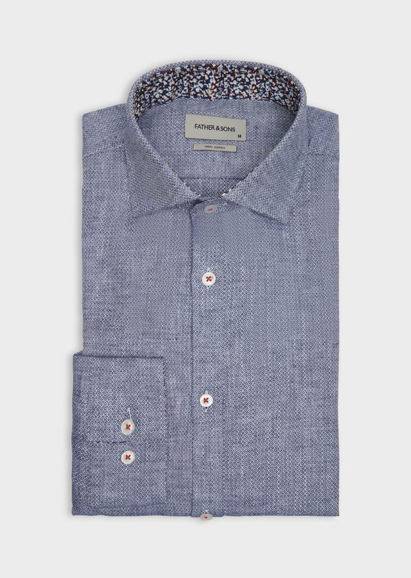Chemise sport Slim en coton et lin jacquard bleu indigo - Father and Sons 38600