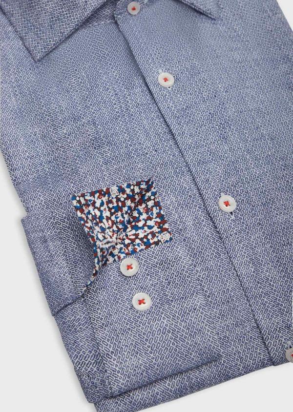 Chemise sport Slim en coton et lin jacquard bleu indigo - Father and Sons 38603