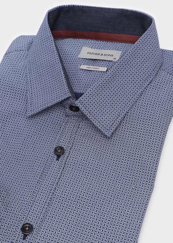 Chemise sport Slim en popeline de coton bleu indigo à motif fantaisie - Father and Sons 35753