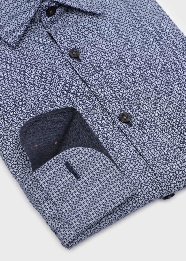 Chemise sport Slim en popeline de coton bleu indigo à motif fantaisie - Father and Sons 35754