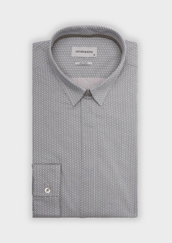 Chemise sport Slim en coton à motif fantaisie vert kaki - Father and Sons 35892