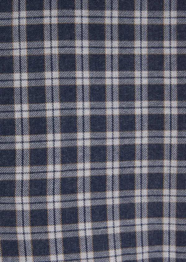 Chemise sport Slim en twill de coton bleu marine à motif fantaisie - Father and Sons 36291