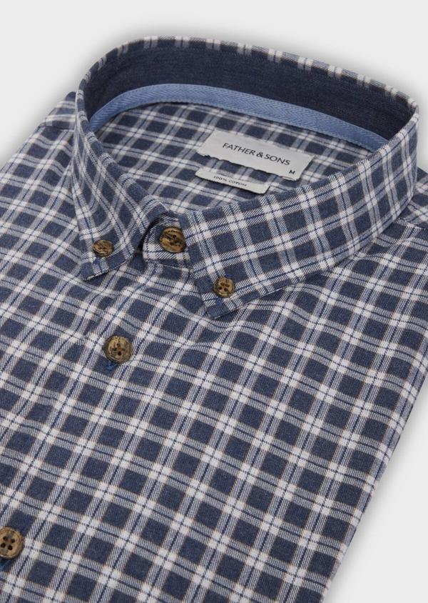 Chemise sport Slim en twill de coton bleu marine à motif fantaisie - Father and Sons 36292