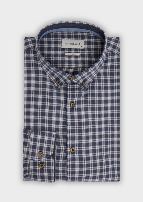 Chemise sport Slim en twill de coton bleu marine à motif fantaisie - Father and Sons 36290