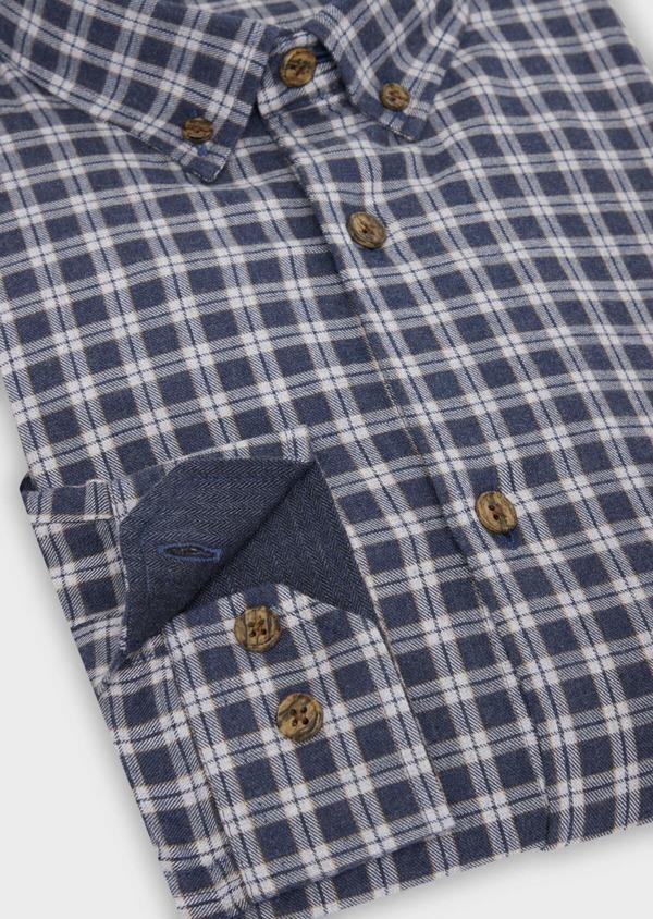 Chemise sport Slim en twill de coton bleu marine à motif fantaisie - Father and Sons 36293