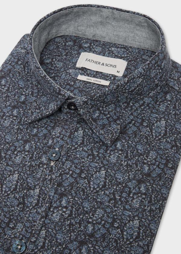 Chemise sport Slim en flannelle de coton bleu marine à motif fantaisie - Father and Sons 36589
