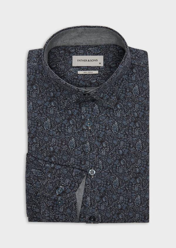 Chemise sport Slim en flannelle de coton bleu marine à motif fantaisie - Father and Sons 36587